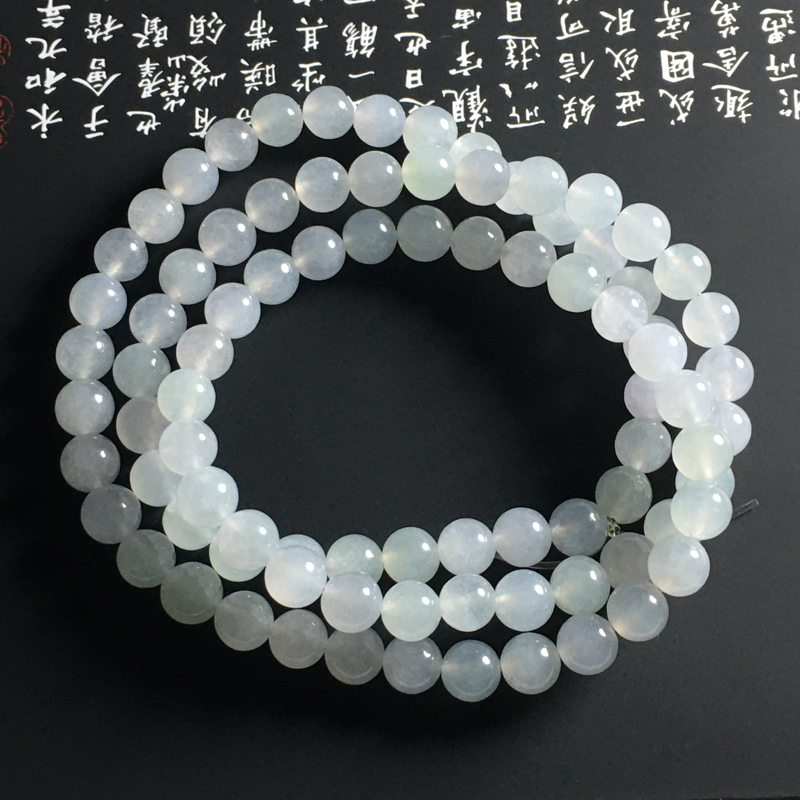 冰种春彩珠链 86颗 直径7.5毫米 种好冰透 清爽细腻