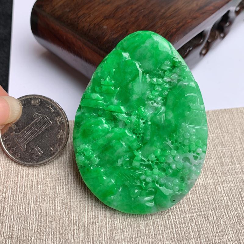A货翡翠-种好满绿锦绣山河山水牌吊坠,尺寸-58.1*42.9*5.8mm