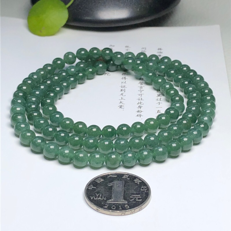 【细豆种深晴底翡翠珠链项链、108颗、直径6.7毫米、质地细腻、色彩鲜艳、隔珠是装饰品、ADA151C12】图8