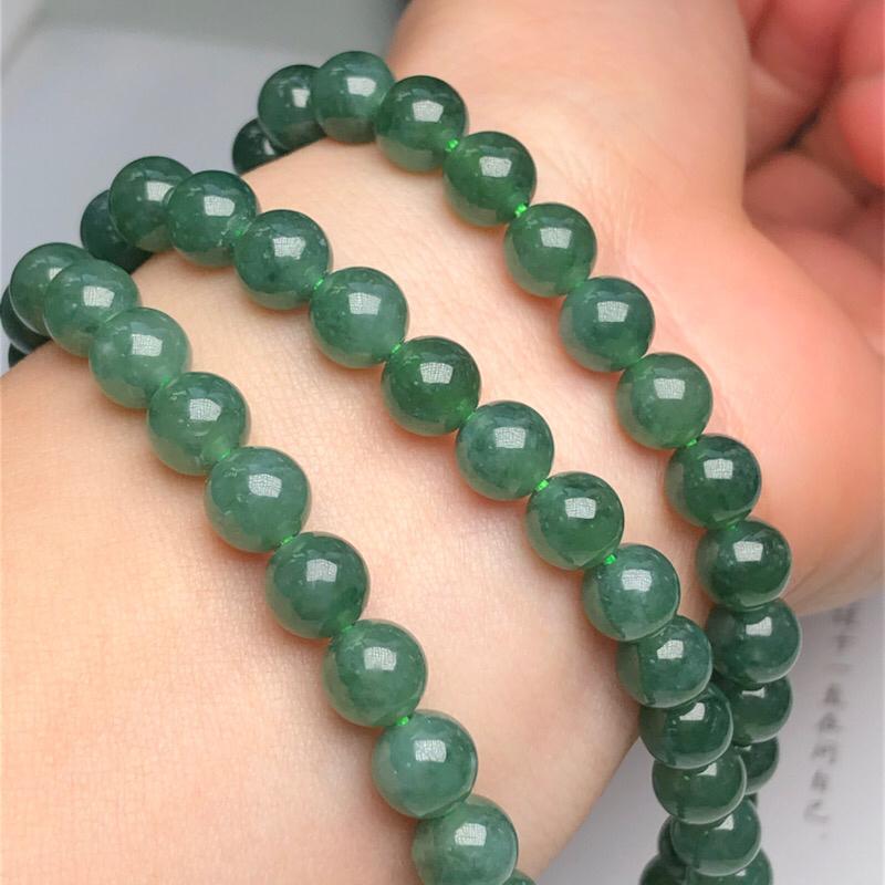 【细豆种深晴底翡翠珠链项链、108颗、直径6.7毫米、质地细腻、色彩鲜艳、隔珠是装饰品、ADA151C12】图4