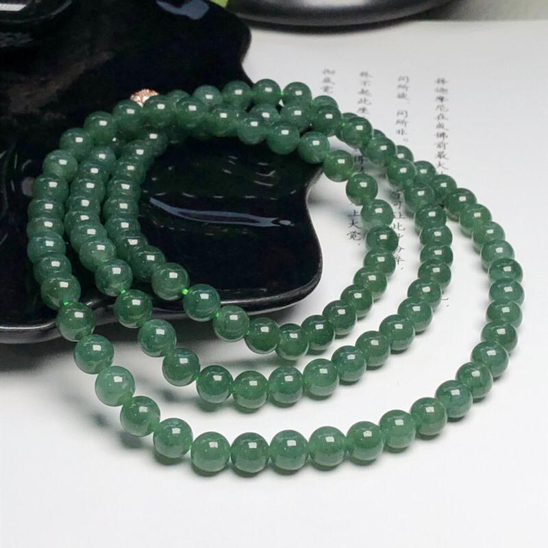 【细豆种深晴底翡翠珠链项链、108颗、直径6.7毫米、质地细腻、色彩鲜艳、隔珠是装饰品、ADA151C12】图2