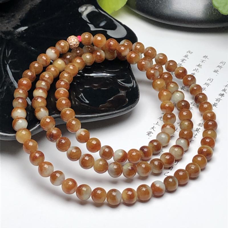 糯种鸳鸯黄翡翠珠链项链、108颗、直径6.2毫米、质地细腻、色彩鲜艳、隔珠是装饰品、ADA199C1