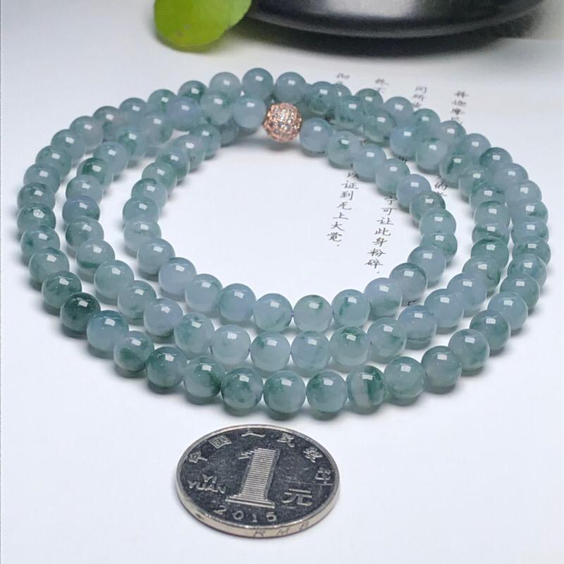 【细豆种飘花翡翠珠链项链、108颗、直径7.1毫米、质地细腻、飘花灵动、隔珠是装饰品、ADA219C35】图4