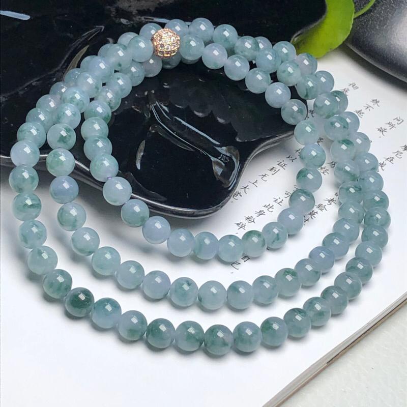 【细豆种飘花翡翠珠链项链、108颗、直径7.1毫米、质地细腻、飘花灵动、隔珠是装饰品、ADA219C35】图3