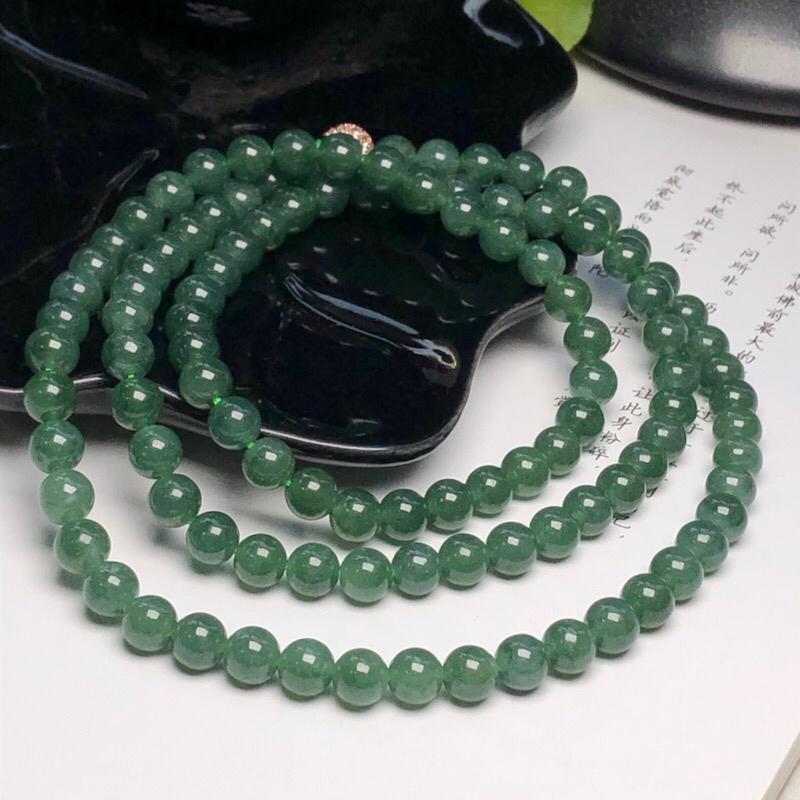 【细豆种深晴底翡翠珠链项链、108颗、直径6.7毫米、质地细腻、色彩鲜艳、隔珠是装饰品、ADA151C12】图3