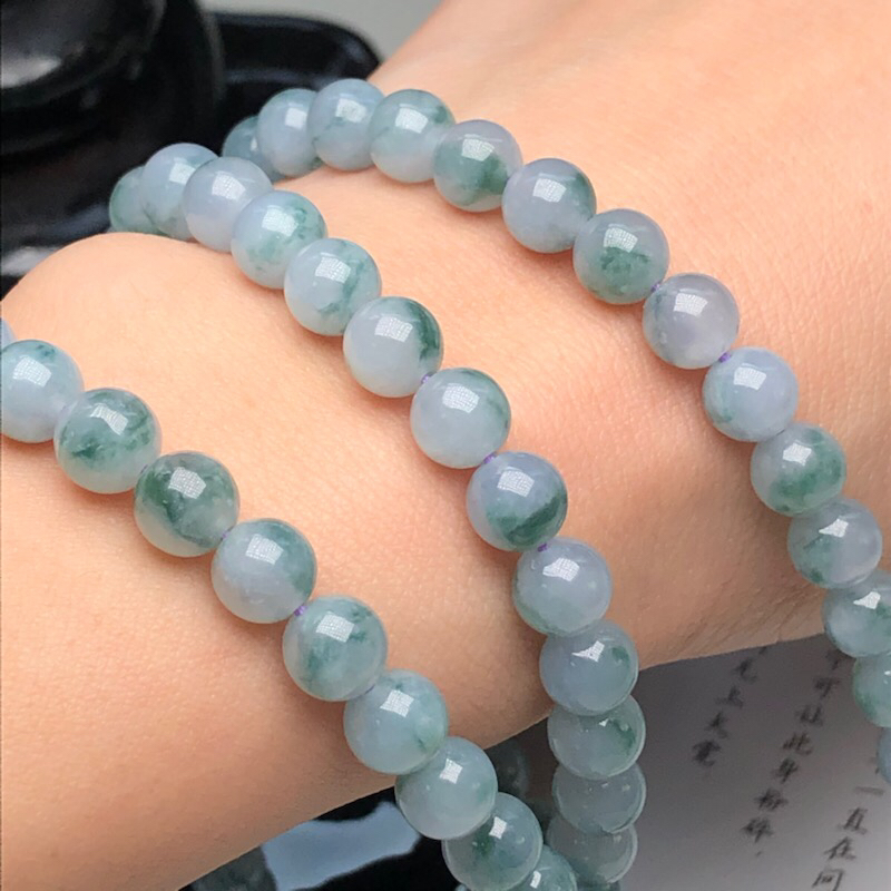 【细豆种飘花翡翠珠链项链、108颗、直径7.1毫米、质地细腻、飘花灵动、隔珠是装饰品、ADA219C35】图8