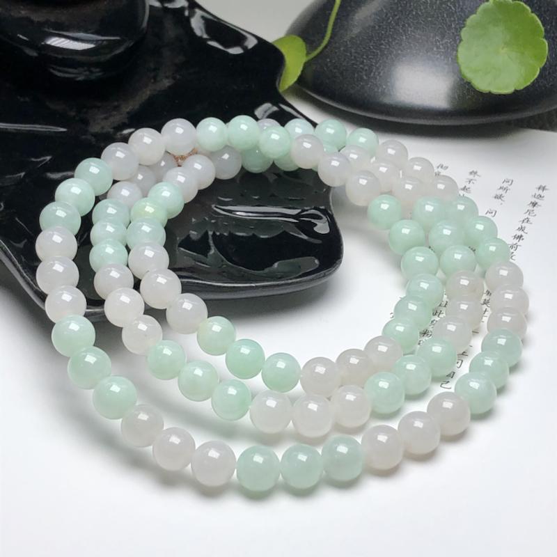 糯种双彩翡翠珠链项链、96颗、直径8.2毫米、质地细腻、色彩鲜艳、隔珠是装饰品、ADA199C12
