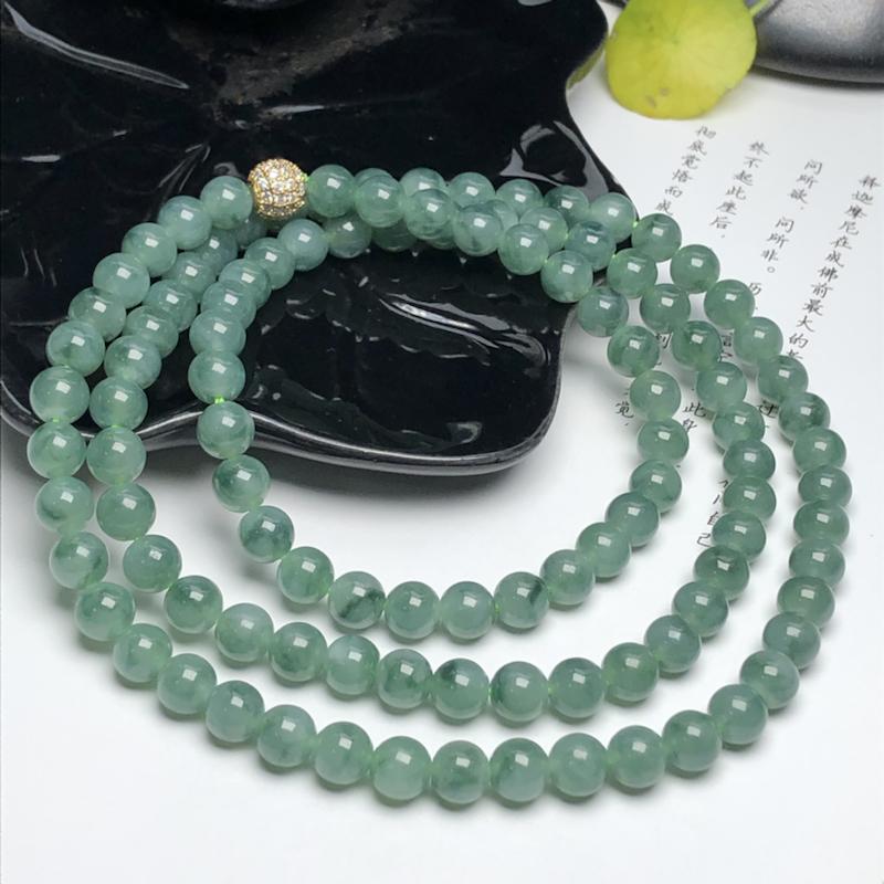 糯种晴底飘绿花翡翠珠链项链、108颗、直径7.1毫米、质地细腻、色彩鲜艳、隔珠是装饰品、ADA216