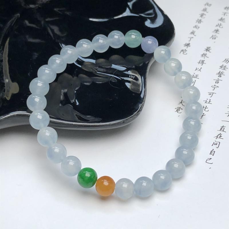 冰糯种粉紫翡翠珠链手串、直径6.6毫米、质地细腻、水润光泽、ADA040C4