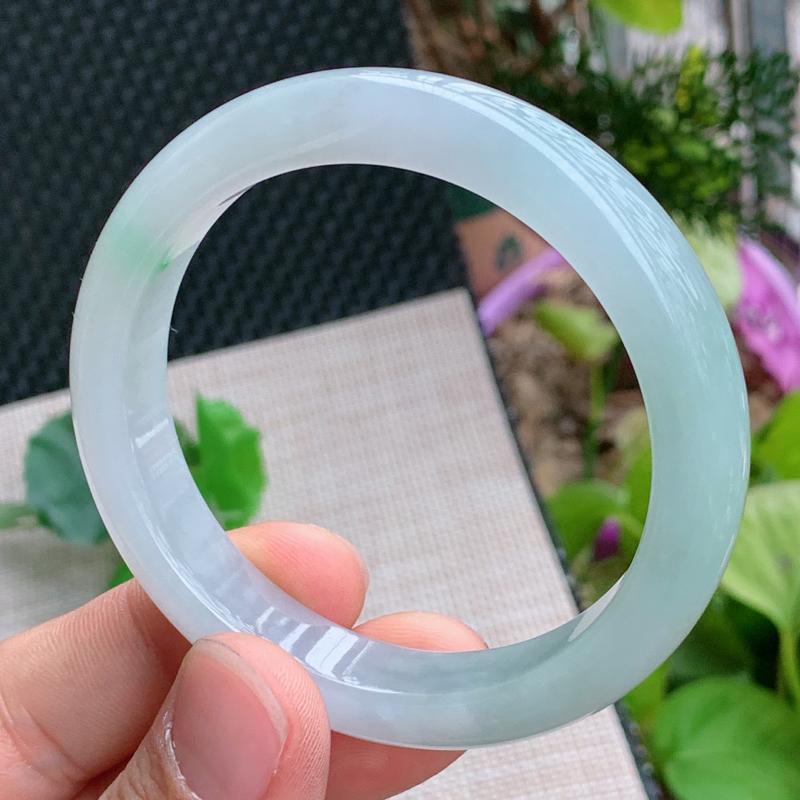 飘花手镯、圈口:57.3mm,A货翡翠飘花宽边手镯、编号0122wx