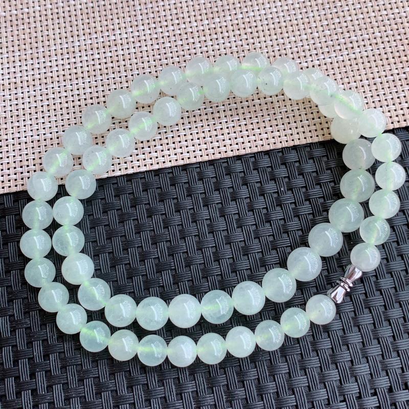塔珠项链、尺寸:61颗8.1/10mm,A货翡翠冰透浅绿塔珠项链、编号0123