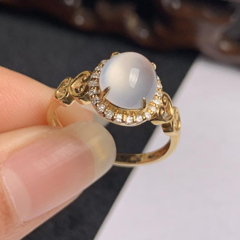 A货翡翠-种好冰润18k金伴钻蛋面戒指,尺寸-裸石8.1*7.4*3.5mm整体10.3*9.7*6