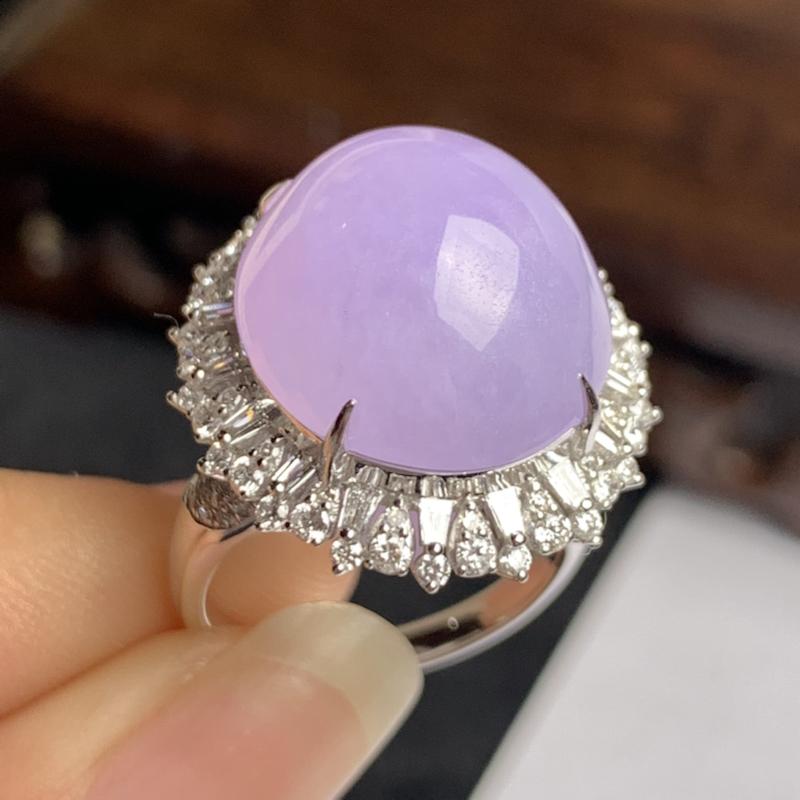 A货翡翠-种好紫罗兰18k金伴钻蛋面戒指,尺寸-裸石16.8*15.1*7.5mm整体22.3*20