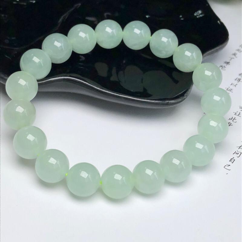 糯种晴底翡翠珠链手串、直径10.2毫米、质地细腻、水润光泽、ADA018C12