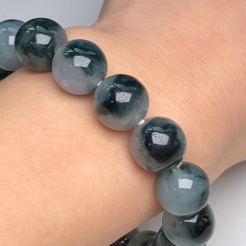 【糯种深飘花翡翠珠链手串、直径11.4毫米、质地细腻、色彩独特、ADA018C2】图7