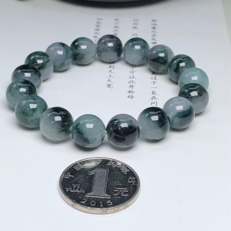 【糯种深飘花翡翠珠链手串、直径11.4毫米、质地细腻、色彩独特、ADA018C2】图5