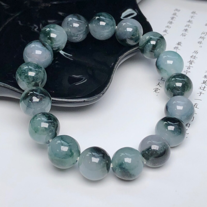 【糯种深飘花翡翠珠链手串、直径11.4毫米、质地细腻、色彩独特、ADA018C2】图3