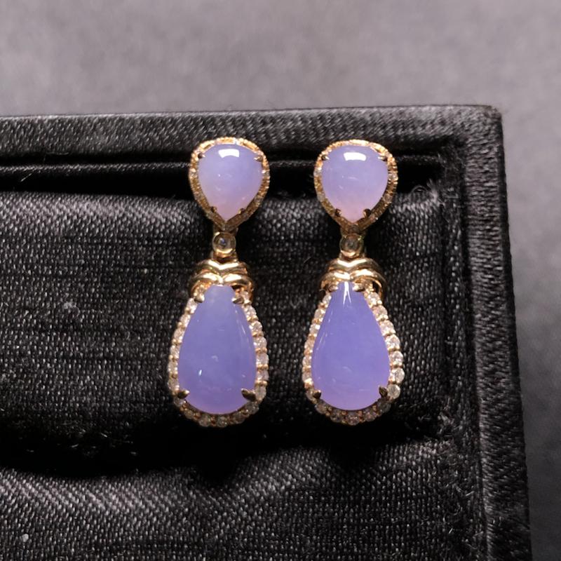 【超值精选】紫罗兰水滴耳坠,18k金豪华镶嵌,种水超好,玉质细腻。
