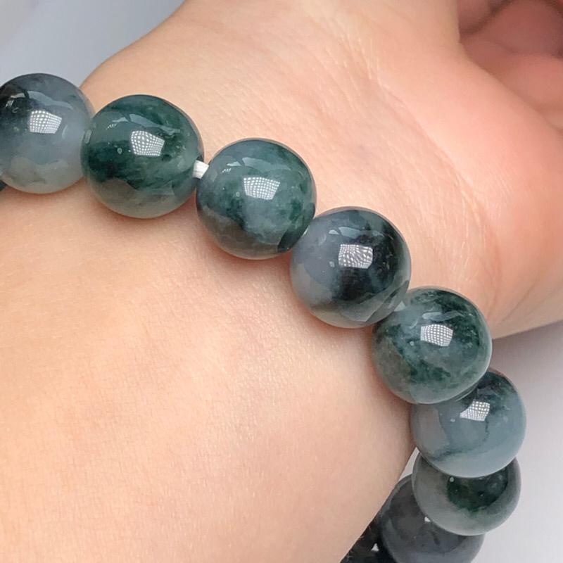 【糯种深飘花翡翠珠链手串、直径11.4毫米、质地细腻、色彩独特、ADA018C2】图6