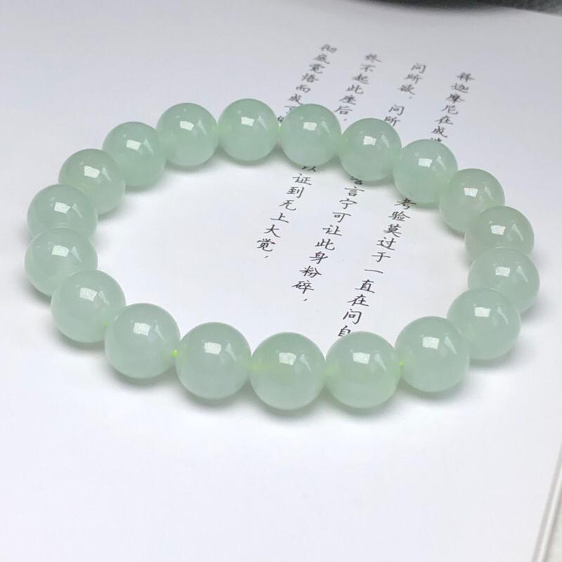 【糯种晴底翡翠珠链手串、直径10.2毫米、质地细腻、水润光泽、ADA018C12】图7