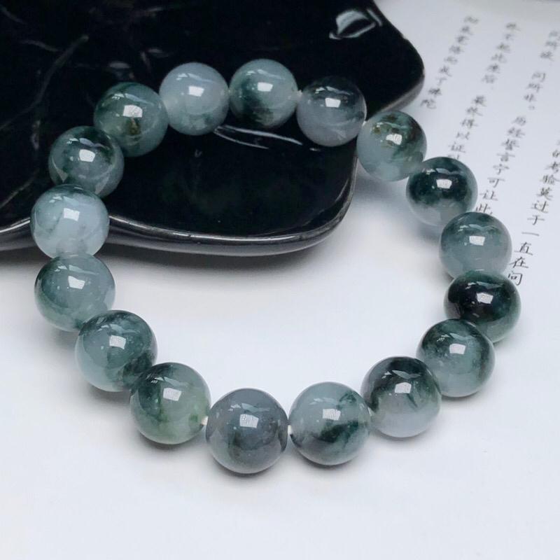 糯种深飘花翡翠珠链手串、直径11.4毫米、质地细腻、色彩独特、ADA018C2