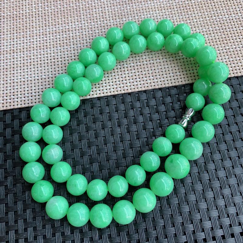 满绿项链、A货翡翠满绿塔珠项链、编号0125