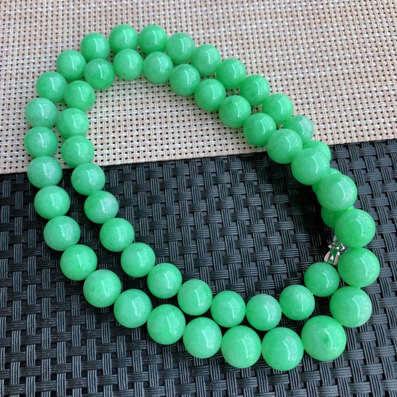 【满绿项链、A货翡翠满绿塔珠项链、编号0125】图2