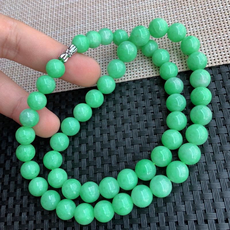 【满绿项链、A货翡翠满绿塔珠项链、编号0125】图6