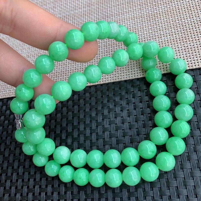 【满绿项链、A货翡翠满绿塔珠项链、编号0125】图7