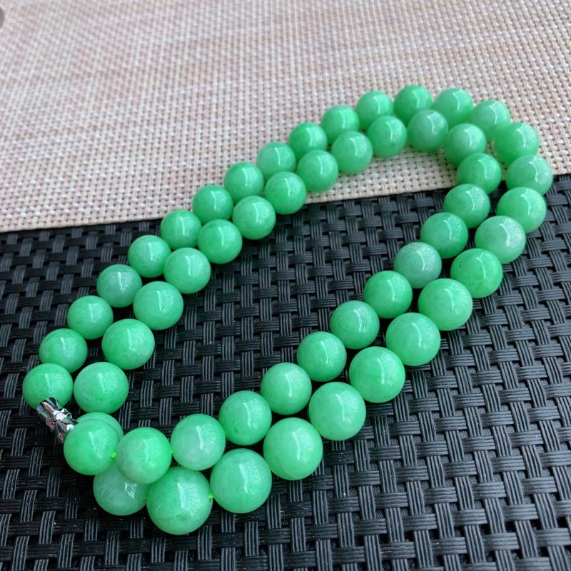 【满绿项链、A货翡翠满绿塔珠项链、编号0125】图10