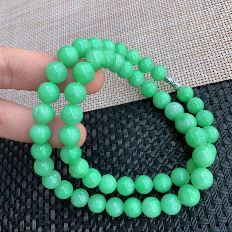 【满绿项链、A货翡翠满绿塔珠项链、编号0125】图5