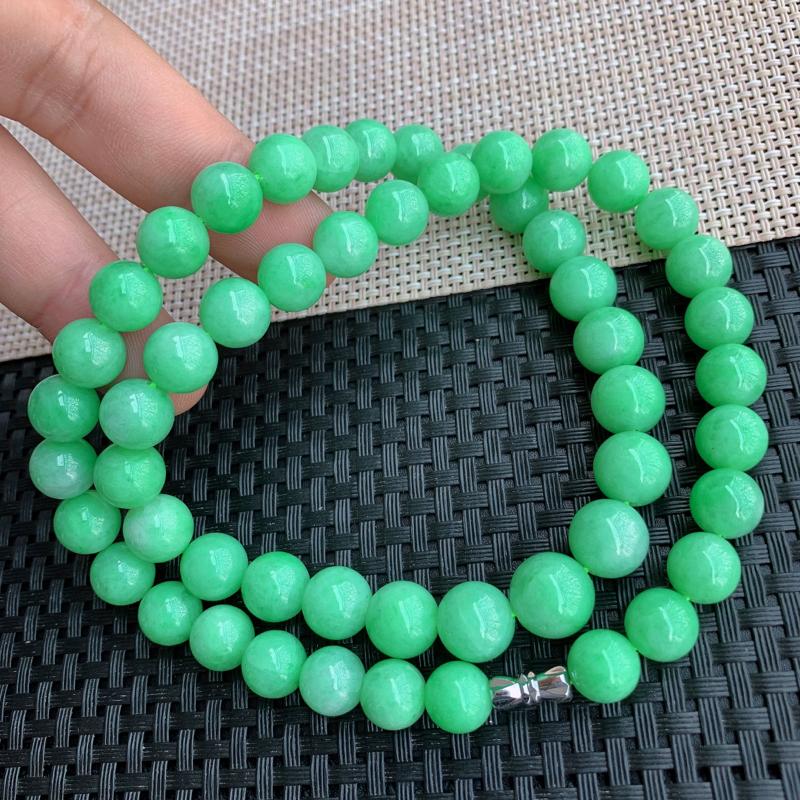【满绿项链、A货翡翠满绿塔珠项链、编号0125】图8