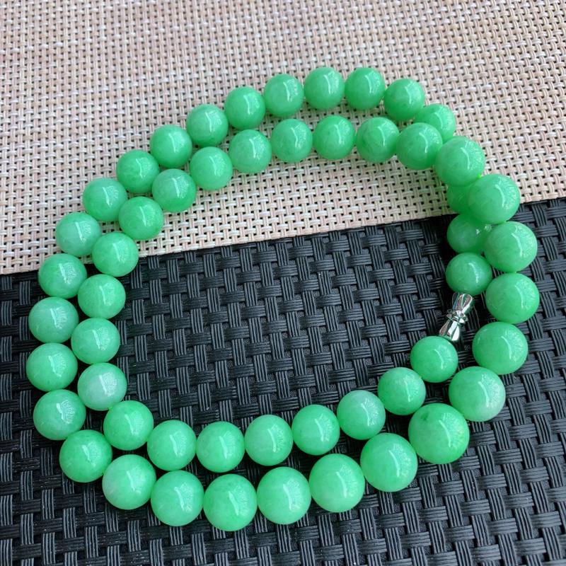 【满绿项链、A货翡翠满绿塔珠项链、编号0125】图3