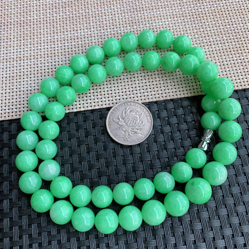 【满绿项链、A货翡翠满绿塔珠项链、编号0125】图4