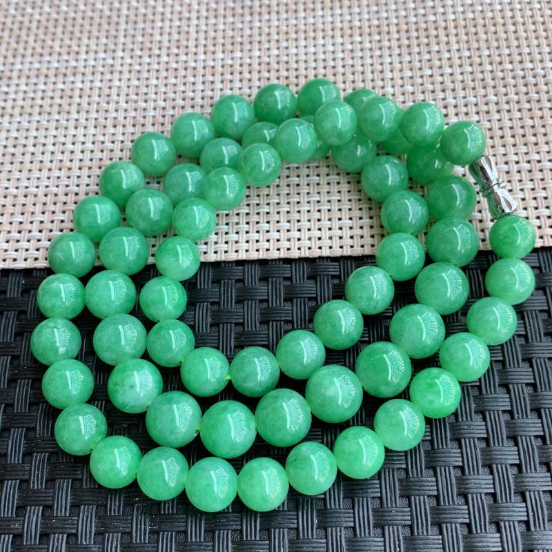 满绿项链、尺寸:65颗7.6/9.3mm,A货翡翠满绿塔珠项链、编号0127