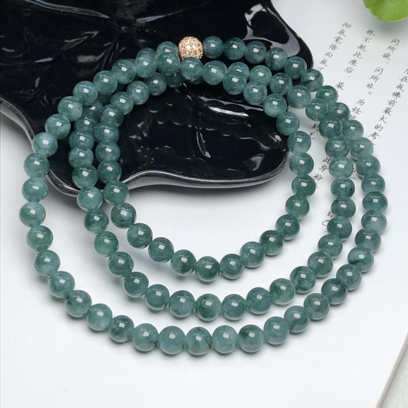 糯种深晴底深飘花翡翠珠链项链、108颗、直径7.1毫米、质地细腻、色彩独特、隔珠是装饰品、ADA08