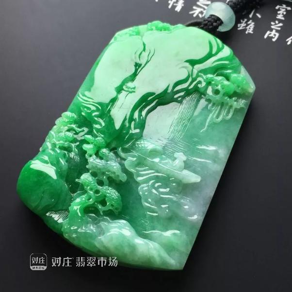 对庄翡翠山水牌,自然之美,诗意人生
